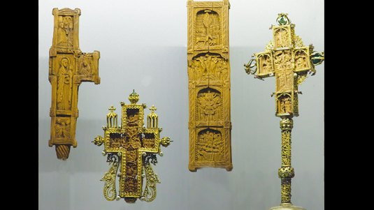 Carved wooden crosses bound with silver. Post-Byzantine period