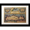 """Δίφυλλη κάρτα με χάρτη της Κρήτης. A. Ortelius, Creta, 1584. Εκδόσεις """"Μικρός Ναυτίλος""""."""