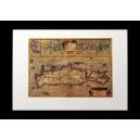"""Δίφυλλη κάρτα με χάρτη της Κρήτης. G. Mercator, Candia, 1590. Εκδόσεις """"Μικρός Ναυτίλος""""."""